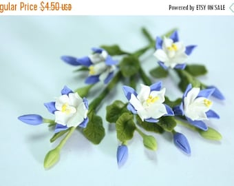 Miniature Polymer Clay Flowers Supplies Columbine, State Flower of Colorado, 3 bunches