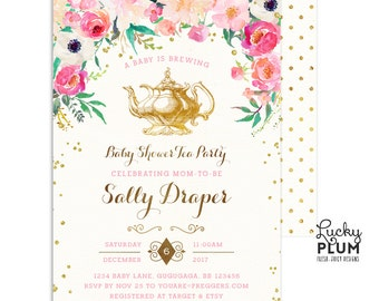 Tea Party Baby Shower Invitation / Couples Baby Shower Invitation / Kitchen Tea  Invitation / Tea Party Invitation / Rustic Coed Mason