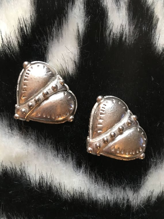 Amazing Chunky 80s Silvertone Boho Heart Earrings by Catherine Stein