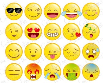Emoticons Clip Art, Cute Face Clip Art / Happy Face / Personal & commercial use / INSTANT DOWNLOAD (CG162)