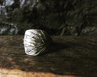 Timor black bamboo spoon ring - sterling silver