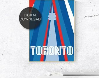 Toronto Poster / Ontario / Retro / Typography / City Print / Instant Art / Toronto Blue Jays / Skyline / CN Tower / Vintage / TDot / The 6ix
