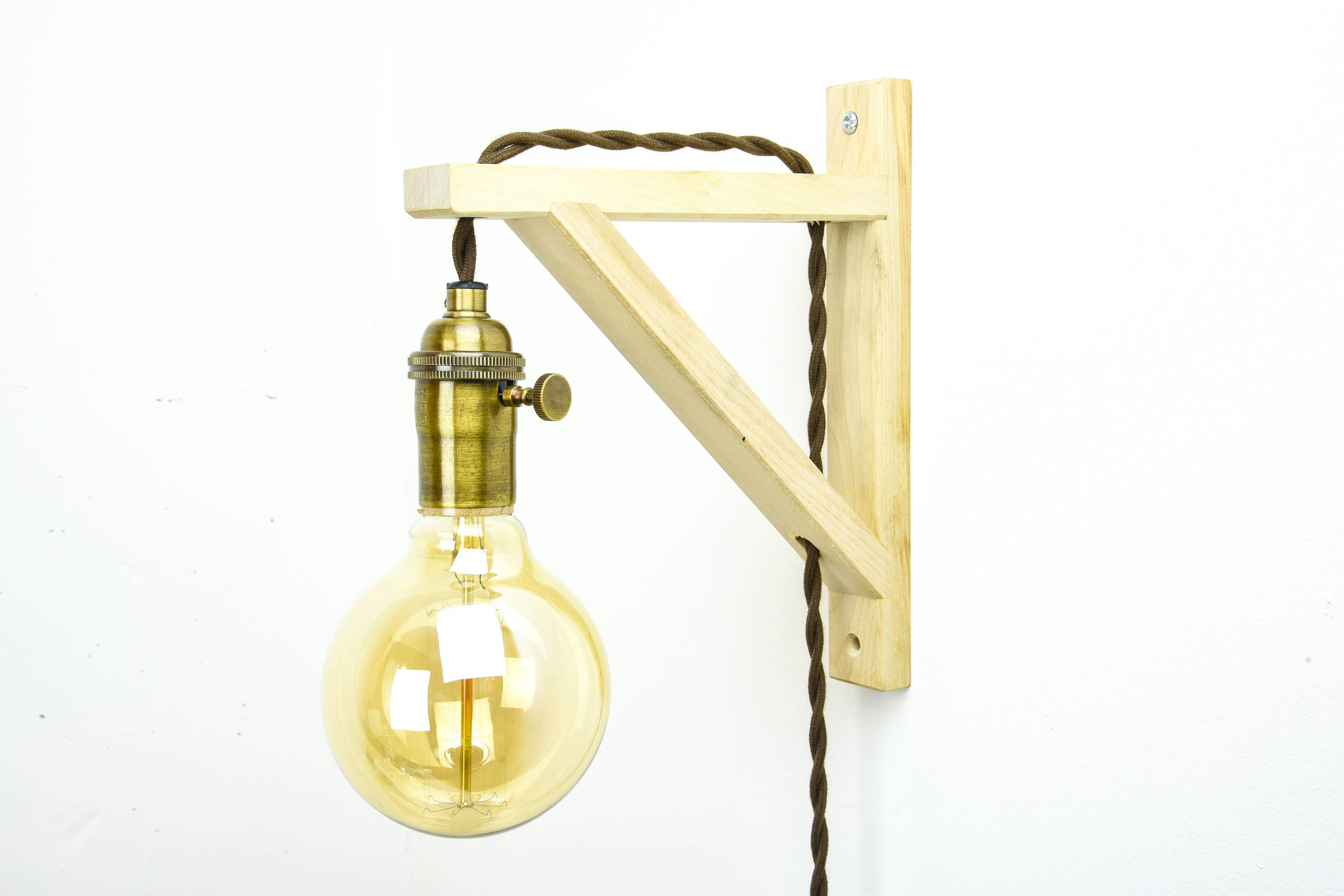 Wood Wall Sconce - Plug In Wall Light - Wall Light Fixture - Antique ...