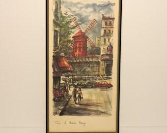 Vintage Arno MOULIN ROUGE Print, framed