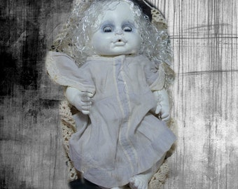 Creepy DOLL OOAK in vintage baby gown