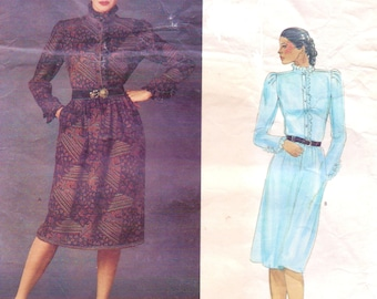 1980s Emanuel Ungaro Womens Dress with High Collar and Ruffles Vogue Paris Original Sewing Pattern 2734 Size 12 Bust 34 UnCut