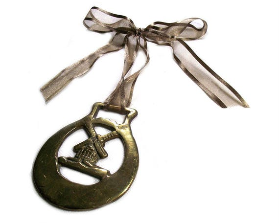 Vintage Windmill Horse Brass on Ribbon
