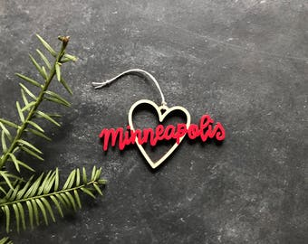 Minneapolis Heart Christmas Ornament - Choose your color | Christmas Ornament | Housewarming Gift | Christmas Gift | Minneapolis Heart