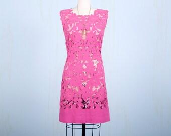 1960's Dress / Hot Pink Floral Sheer Lace Hippie Mod Boho Fuchsia Shift Dress / Small Medium