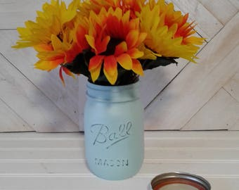 Blue  Painted Pint Mason Jar with 2 Types of Sunflowers, Hand Painted with Chalk Paint, Flower Vase, Flower Arrangement