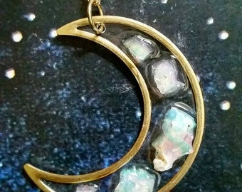 Opal Moon Necklace / Moon Necklace / Opal Pendant / Crystal Jewelry