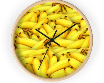 Banana Clock, Fruit Clock, Banana Decor, Funny Clock, Fruit Decor, Kitchen Clock, Bananas, Wall Clock, Wood Clock, Yellow, Gift for her