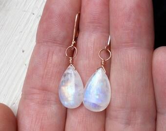 Genuine moonstone 14k Rose gold fill leverback earrings