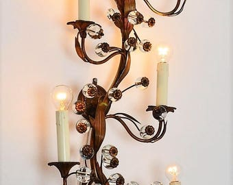 Hollywood Regency Murano glass flowers wall sconce brass lighting with flowers and leafs, Italy 1970s, home decor interior decoration