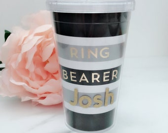 NEW Personalized Ring Bearer Cups~Personalized Bridesmaid Gifts~Ring Bearer Gifts~Bridal Shower Favors~Wedding Cups~Personalized Cups