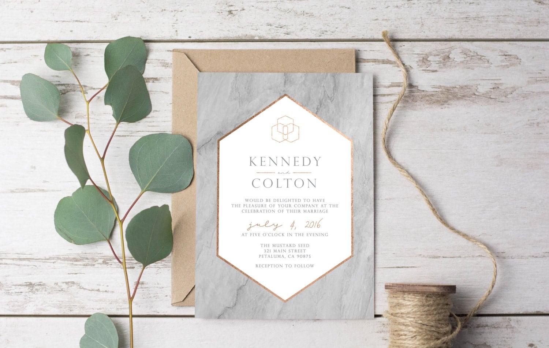 Marble Modern Wedding Invitation Template Printable Rustic