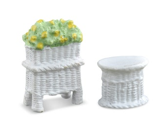 My Fairy Gardens  Mini - Micro Mini Wicker Table and Planter - Miniature Supplies Accessories Dollhouse