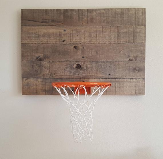 Weathered Gray Indoor Basketball Hoop. Wood Wall Mounted