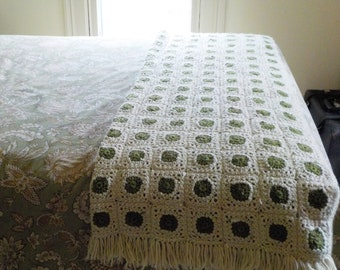 Vintage Granny Square Afghan • Vintage Green and Ivory Crochet Throw • Mini Granny Squares Afghan