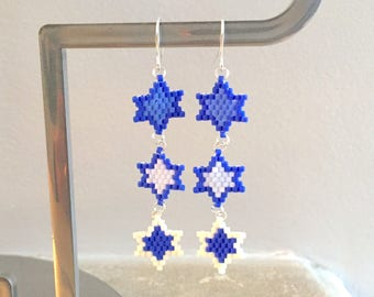 Earrings - blue, sky blue and white - stars weaving beads brick stitch