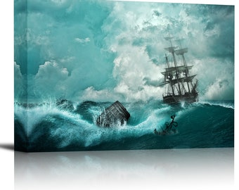 Sailing Ship in Sea Storm Art Print Wall Decor Image - Canvas Stretched Framed