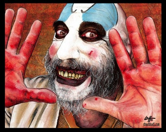 "Print 8x10"" - Captain Spaulding- Clowns Horror Sid Haig Dark Art Scary Creepy Gothic Rob Zombie Corpse Devils Rejects Pop Art Lowbrow Beard"