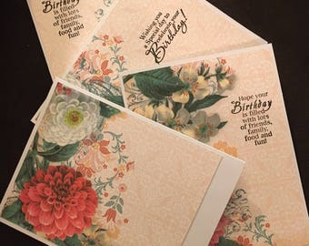 Peachy Birthday - Set of 4 Birthday Cards and matching envelopes - Hand Made