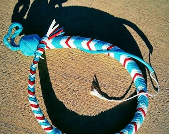 Beautiful 2-foot turquoise, white and red paracord whip.