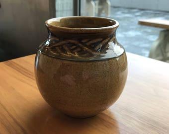 Vintage Holkam Norfolk Stoneware Wave Design Vase