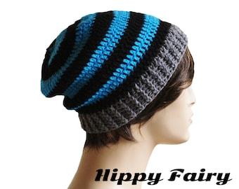 Mens crochet hat, Crochet slouch beanie,Mens crochet beanie Mens beanie hat,striped hat, crochet mens hat, beanie for men