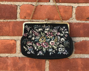 Needlepoint chain strap top handle purse bag vintage flower floral bohemian snap clasp colorful black background double sided