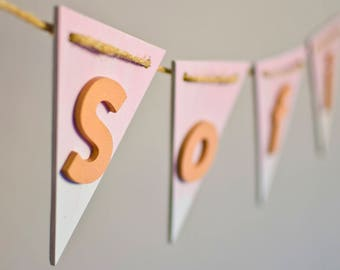 Christening gift for girl - Gift for girl baby shower -  Wood name pennant for toddler - Personalized nursery decor - Pink ombre - Rose gold