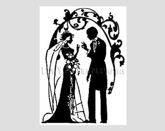 Art Deco Bride and Groom Cross Stitch, Bride and Groom, Wedding Cross Stitch, Cross Stitch Bride, Silhouette from NewYorkNeedleworks on Etsy