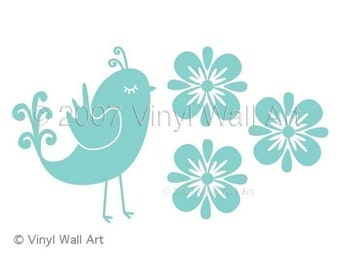 Quail and Flowers Vinyl Wall Decal size SMALL - Home Decor, Office Decor, Bird Decal, Flower Decal, Nursery Decor, Bedroom Decor