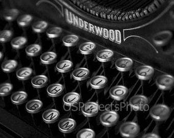 Vintage Typewriter Photography - Black and White Photo - Underwood Typewriter Photo - Old Typewriter Print -  Old Keyboard Image - Printing
