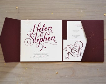 Calligraphy Wedding Invitation, Burgundy and Gold Pocket Fold Invite
