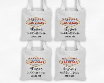 Las Vegas Mini Tote Bachelorette Party Favor Bags - Set of 4 Custom Gift Bags - Reusable Tote Bags with Vegas Sign