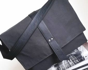 Messenger Laptop Bag Men, Minimalist Waxed Canvas Crossbody Bag for Work, Professional Business Bag  - The Sloane Bag in Charcoal and Black