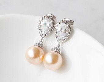 Swarovski peach pearl earrings, Wedding earrings, Bridal earrings, CZ stud earrings, Dangle earrings, Bridesmaid gift, Bridesmaid earrings