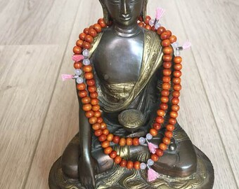 Bracelet mala 108 beads, sandalwood and rose quartz