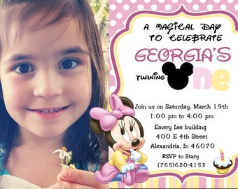 Baby Minnie Mouse 1st Birthday Photo Invitations  and more... DIGITAL FILE (S) UPRINT