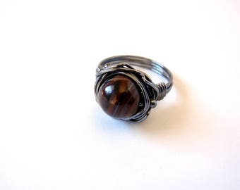Tiger Iron Ring ~ US Size 10.5 ~ Unisex ~ Banded Stone Ring ~ Handmade Orbit Ring ~ Wire Wrapped Oxidised Recycled Sterling Silver