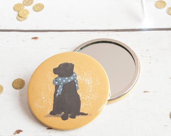 Black Labrador, Pocket Mirror, stocking filler, cute dog, compact mirror, girlfriend gift, ideas, dog owner, labrador lover, purse mirror
