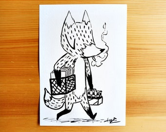 Day Out with Punk Fox - Original Ink Drawing
