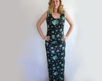Turquoise Geode chunks maxidress long dress black and turquoise blue/ green with side split and rouching pagan clothing