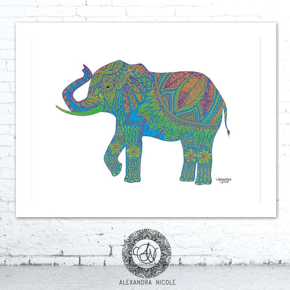 Tribal Print Green Elephant Elephant Art Print Doodle Art
