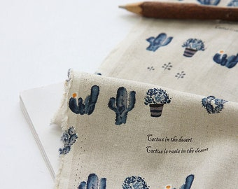 """Cactus Cotton Linen Fabric, Blue, 57"""" Wide - By the Yard V01 88185"""