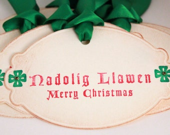 Christmas Tags (Doubled Layered) - Nadolig Llawen Merry Christmas Welsh Christmas - Vintage Inspired Christmas Gift Tags  - Set of 8