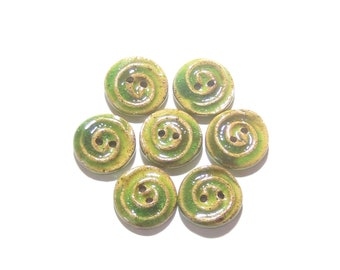 Lime Green Buttons, MADE TO ORDER (7), Small Buttons, Swirl Buttons, Sweater Buttons, Ceramic Buttons, Artisan Buttons, Texture Buttons