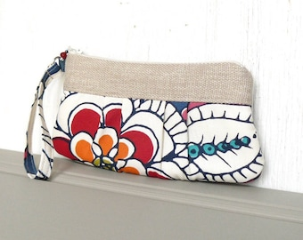 Pleated Wristlet, Small Clutch Purse, Zipper Wristlet Clutch - Bright Blossoms in Blue, Red, Cream and Khaki